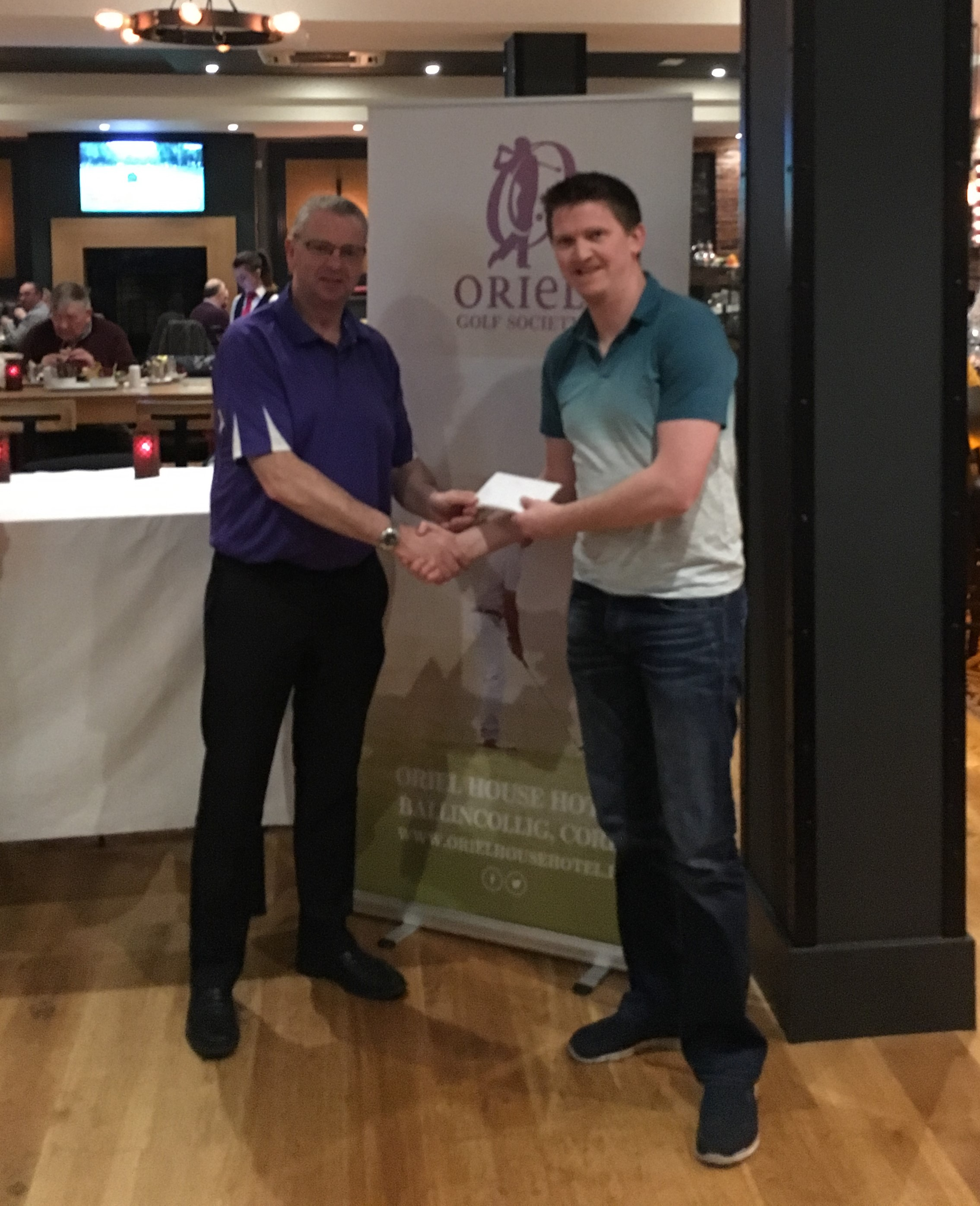 Tom Butler Captain presenting David Casey with 2nd Prize following The Oriel House Golf Society to Macroom Golf Club